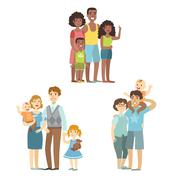 Happy Families Posing Together Stock Illustration