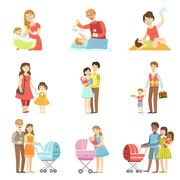Happy Families With Kids And Babies - stock illustration