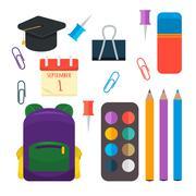 Various individual school supplies vector set - stock illustration
