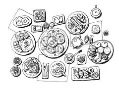 Full set western style breakfast hand illustration Stock Illustration