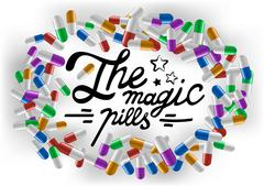 Hand drawn lettering The magic pills on colorful tablet background. Stock Illustration