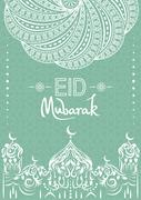 Abstract decorated greeting card for muslim community festival. Stock Illustration