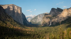 Afternoon time lapse of bridalveil falls and half dome in yosemite national park Stock Footage