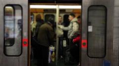 Crowd Of Passengers In Brussels Metro, Belgium - stock footage