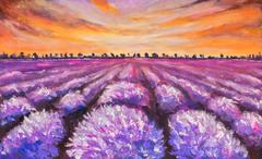 Stunning landscape with lavender field at sunset oil painting - stock illustration