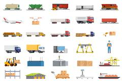 Set of icons transport logistics concept Stock Illustration
