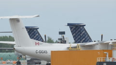 Tail of Porter airlines plane at Toronto Island airport. Toronto, Canada. Stock Footage