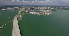 Aerial of Bridge & Downtown Area Of Sarasota Historic District Stock Footage