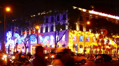 View of the busy night street in Ho Chi Minh City Stock Footage