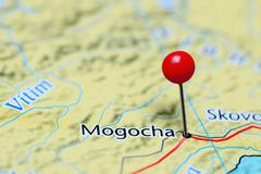 Mogocha pinned on a map of Russia Stock Photos