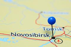 Novosibirsk pinned on a map of Russia - stock photo