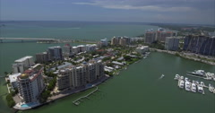 Aerial of Boats & Buildings In Downtown Area Of Sarasota Historic District Stock Footage