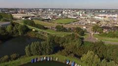Drone footage of a industrial area near Rotterdam in The Netherlands Stock Footage