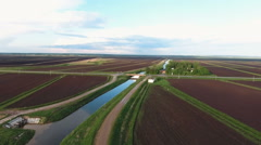 Aerial view of farm lands Stock Footage