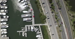 Aerial of Boats & Street In Downtown Area Of Sarasota Historic District Stock Footage