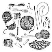 Knitting accesories set - stock illustration