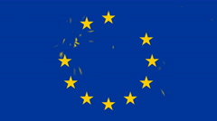 European Union flag stars appearing and shattering Stock Footage