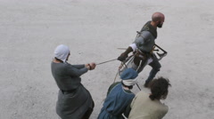 Medieval nobles prisoners Stock Footage