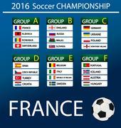 European football championship 2016 in France - stock illustration