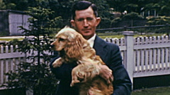 USA 1941: portrait of a man with his dog Stock Footage