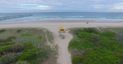 Entering beach Lifeguard hut 4K Stock Footage