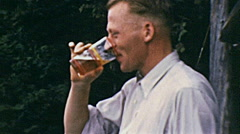 USA 1941: man drinking a beer Stock Footage