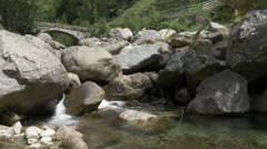 River with rocks in mountain ambient at Piedicavallo in Biella - stock footage