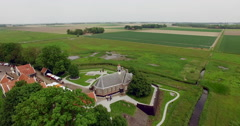 Aerial  Drone shot of Schokland former island in the Netherlands Stock Footage
