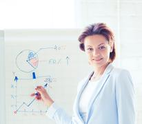 businesswoman working with flip board in office - stock photo