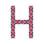 Letter H made from United Kingdom flags on white background - stock illustration