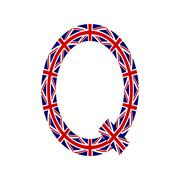 Letter Q made from United Kingdom flags on white background - stock illustration