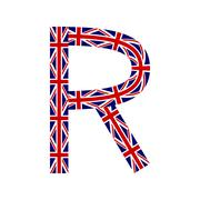 Letter R made from United Kingdom flags on white background - stock illustration