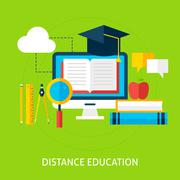 Distance Education Flat Concept - stock illustration