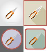 pliers repair and building tools flat icons vector illustration - stock illustration