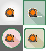roulette repair and building tools flat icons vector illustration - stock illustration