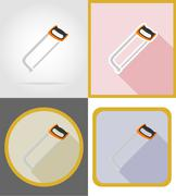 saw repair and building tools flat icons vector illustration - stock illustration