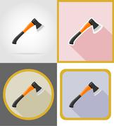 ax repair and building tools flat icons vector illustration - stock illustration