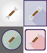 wrench repair and building tools flat icons vector illustration - stock illustration