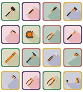 repair and building tools flat icons vector illustration - stock illustration