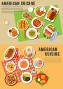 Colorful flat icon of american barbecue dinner Stock Illustration