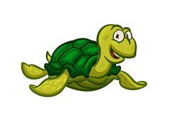 Cartoon swimming sea turtle character Stock Illustration