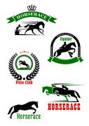 Horseracing, dressage and polo club heraldic icons - stock illustration