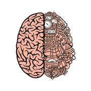 Robot brain icon with equipments and gauges Stock Illustration