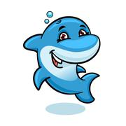 Playful cartoon blue atlantic bottlenose dolphin Stock Illustration