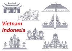 Ancient temples of Indonesia and Vietnam icons - stock illustration