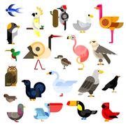 Wild, aquatic, tropical and urban birds flat icons - stock illustration