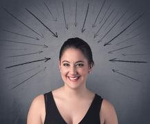 girl with funny facial expression - stock photo