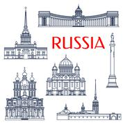 Russian architectural attractions thin line icons - stock illustration