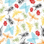 Tribal insects seamless pattern background Stock Illustration