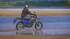 The feeling of freedom and Moto aesthetics. Motorcyclist riding on his bike on Stock Footage
